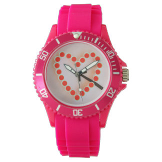 a heart of glasses on sporty pink silicon watch