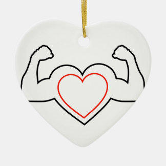 A heart with flexing muscles- Healthy heart Ceramic Heart Ornament