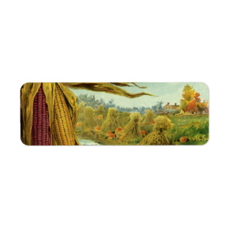 A Hearty Thanksgiving; Indian Corn and Haystacks Return Address Label