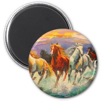 A herd of horses 2 inch round magnet
