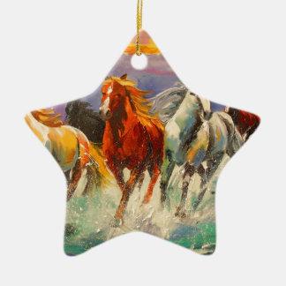 A herd of horses ceramic star ornament