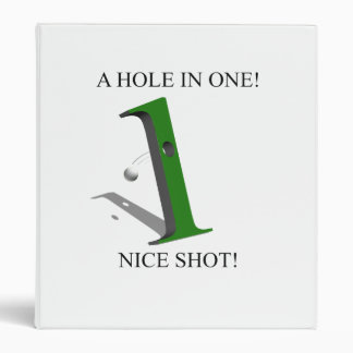 A Hole In One Golf Ball 3 Ring Binder