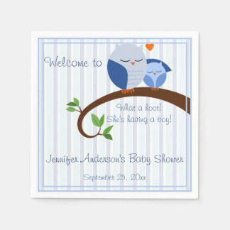A Hoot! Blue Owls Baby Shower Napkins Disposable Napkins