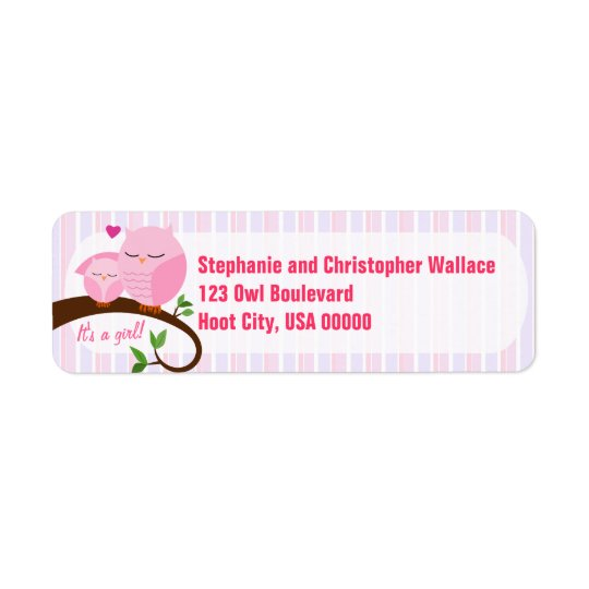 A Hoot Of A Baby Shower Pink Address Label