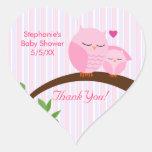 A Hoot Of A Baby Shower Pink Heart Sticker