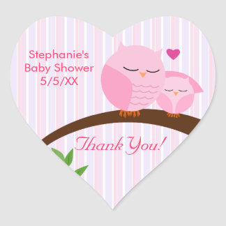 A Hoot Of A Baby Shower Pink Heart Sticker