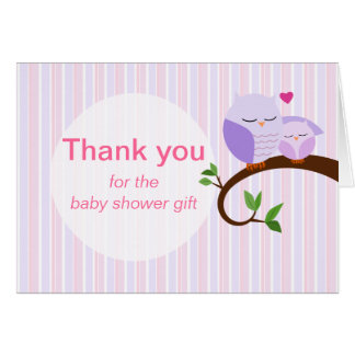 A Hoot Of A Baby Shower Purple Owls Thank You Card