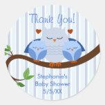 A Hoot Twins Blue Owls Round Sticker