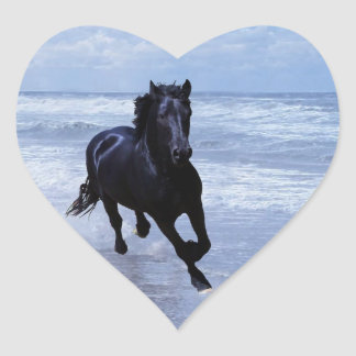 A horse wild and free heart sticker