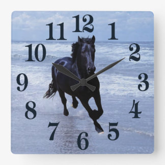 A horse wild and free square wall clock