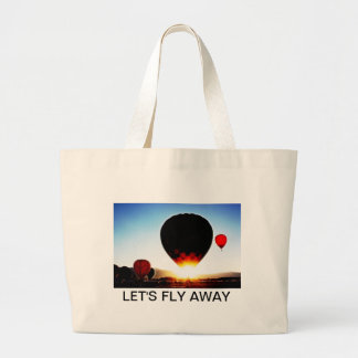 A Hot-Air Balloon launches at sunrise; Large Tote Bag