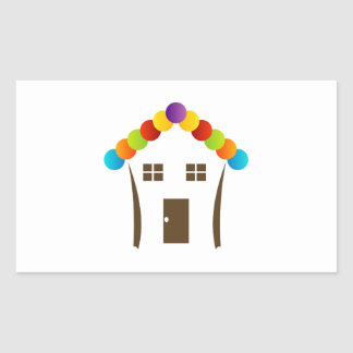 A house graphic with a colorful roof sticker