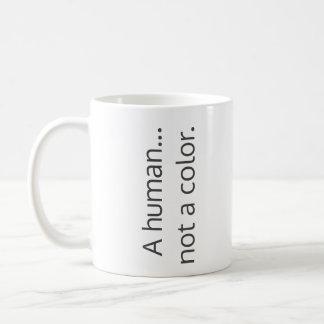 A human...  not a color. coffee mug