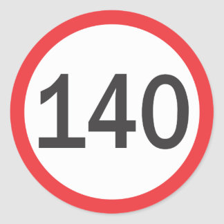 A hundred and forty speed limit classic round sticker
