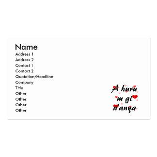 A huru m gi n'anya - Igbo I love you Hearts Red.pn Business Card