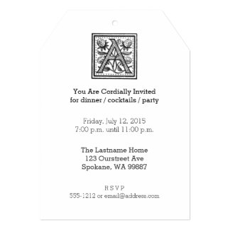 """A Initial from A Monk of Fife 5"""" X 7"""" Invitation Card"""