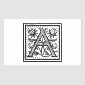 A Initial from A Monk of Fife Rectangle Stickers