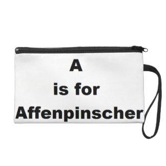 a is for affenpinscher wristlet