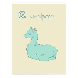 A is for Alpaca (blue) Postcard