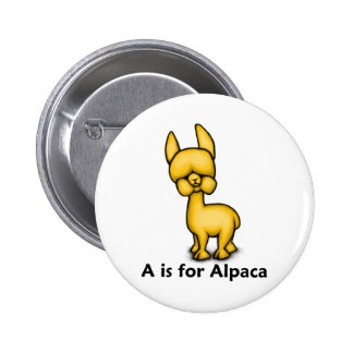 A is for Alpaca Pinback Buttons