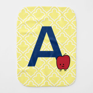 A is for Apple alphabet abc letter learning Baby Burp Cloth
