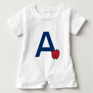 A is for Apple alphabet abc letter learning cute Baby Romper