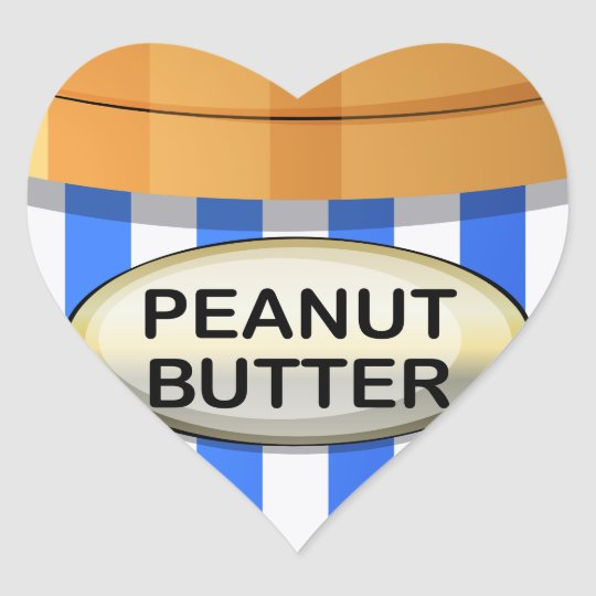 A jar of peanut butter heart sticker