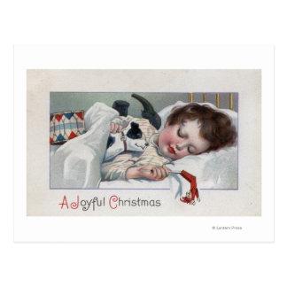 A Joyful ChristmasBoy Sleeping with Puppy Postcard