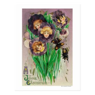 A Joyful Easter Violets with Women Heads Scene Postcard