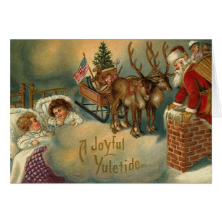 A Joyful Yuletide Santa Going Down Chimney Card
