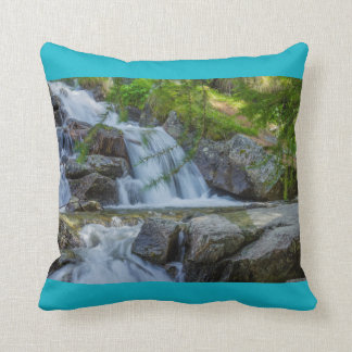 a  jump of a wateterfall l on throw  Pillow, Throw Pillow