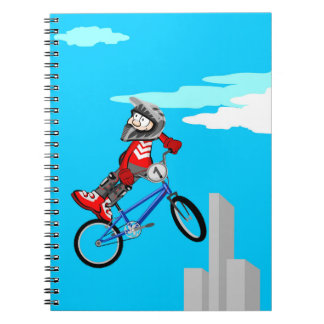 A jump with style in a bicycle BMX Notebooks