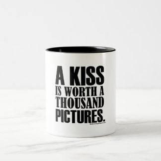 A kiss worth a thousand pictures Two-Tone coffee mug