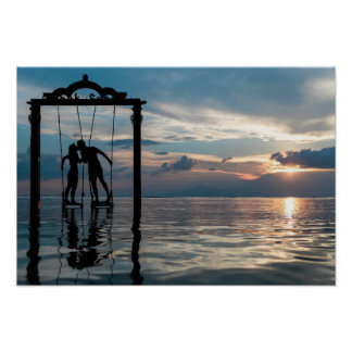 A Kissing Couple on a Swing on the Lake Photo Poster