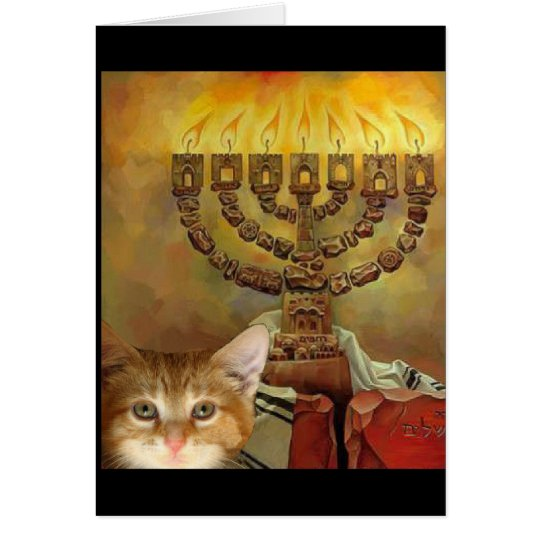 A kitten and a Menorah Card