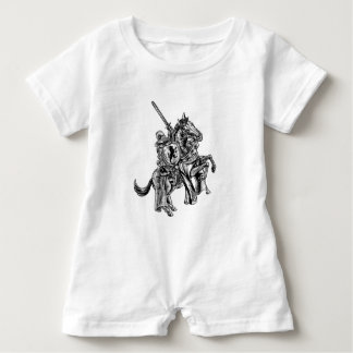 A knight holding a sword and shield on the back of baby romper