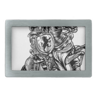 A knight holding a sword and shield on the back of belt buckle