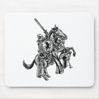 A knight holding a sword and shield on the back of mouse pad