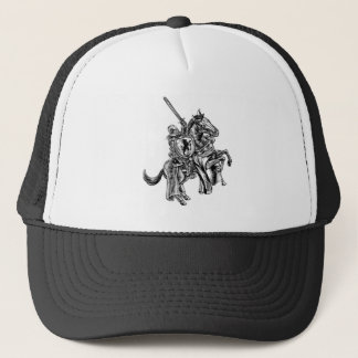 A knight holding a sword and shield on the back of trucker hat