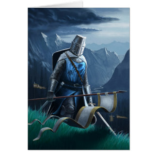 A knight marches on, greeting card