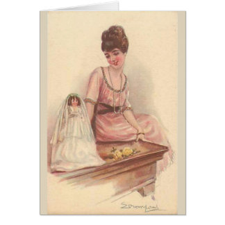 A Lady and Her Bride Doll, Card
