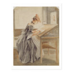 A Lady Copying at a Drawing Table, c.1760-70 (grap Post Cards