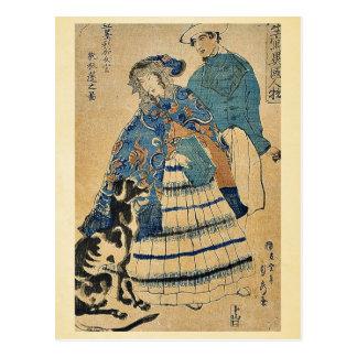 A lady playing accordion by Utagawa,Sadahide Postcard
