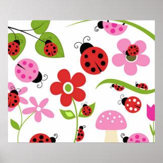 A Ladybug Garden Poster