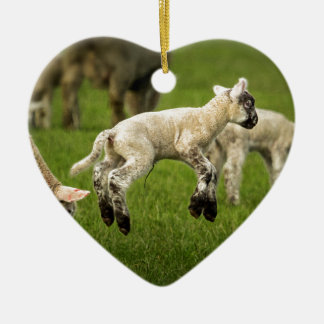 A Lamb with a Spring in Its Step Ceramic Ornament