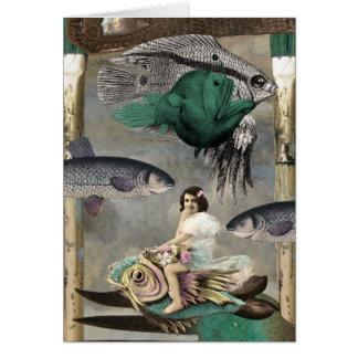 A Land Full of Fish, Digital Collage, Birthday Card