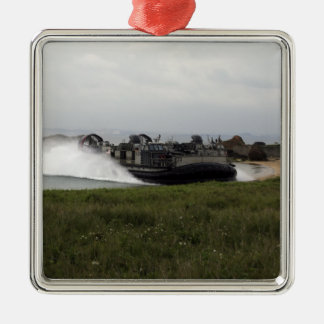 A landing craft air cushion comes ashore metal ornament