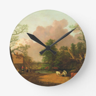 A Landscape with Figures, Farm Buildings and a Mil Wall Clocks