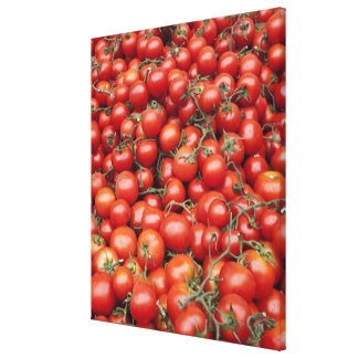 A large crop of tomato on a market stall in canvas print