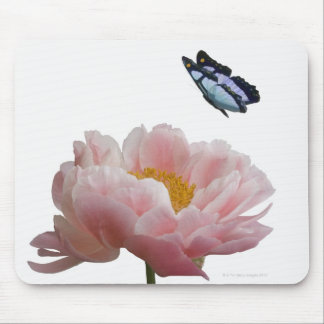 a large pink peony is visited by a ethereal mouse pad